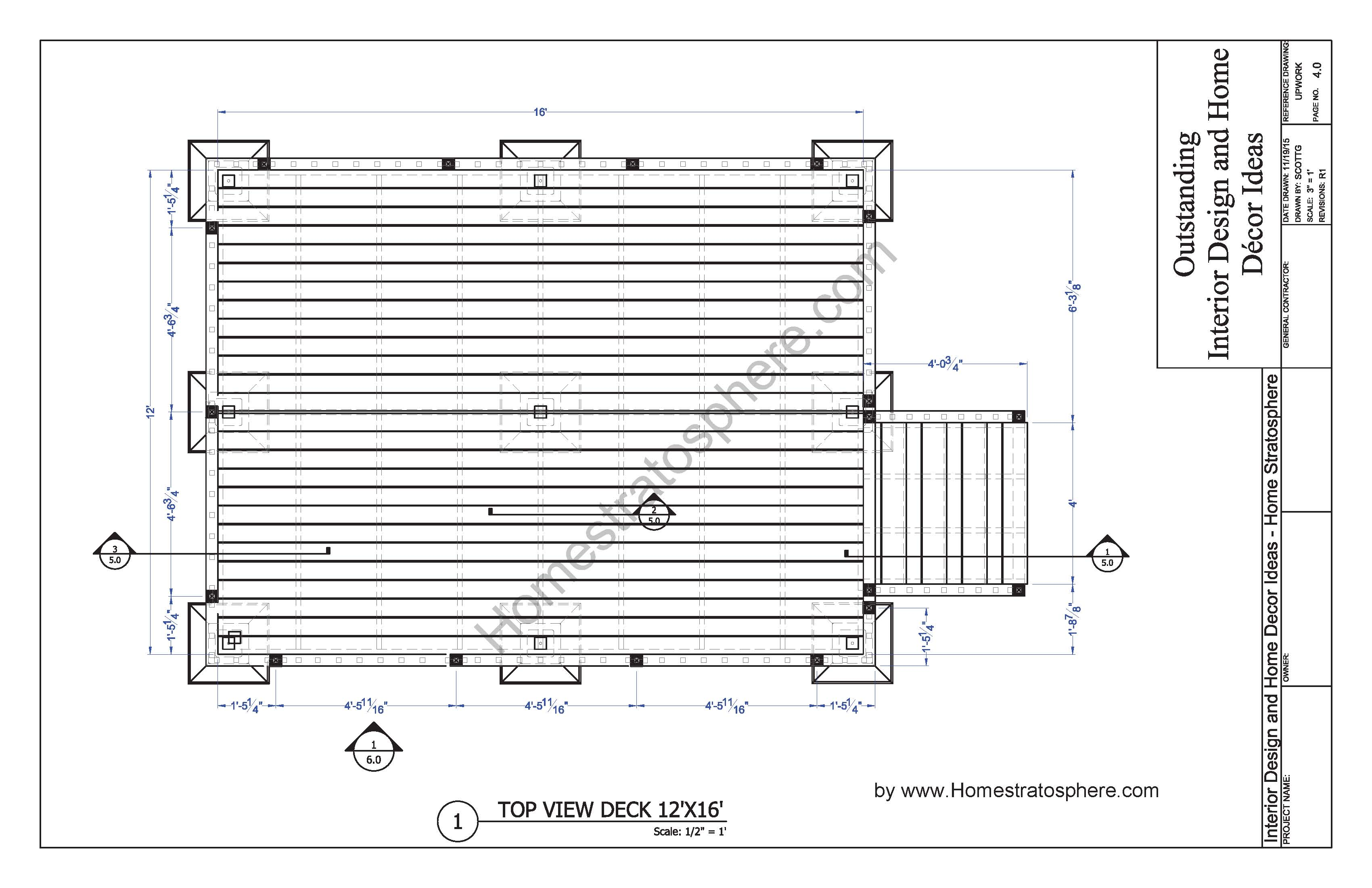 Free 12' X 16' Deck Plan Blueprint (with PDF Document ... on Patio Planner id=14392
