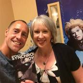 Actual Synchro champion Bill May and author Shannon McFerran with her book Synchro Boy