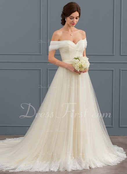 Ball Gown Off the Shoulder Court Train Tulle Lace Wedding Dress With     Home      Wedding Dresses   124264  Loading zoom