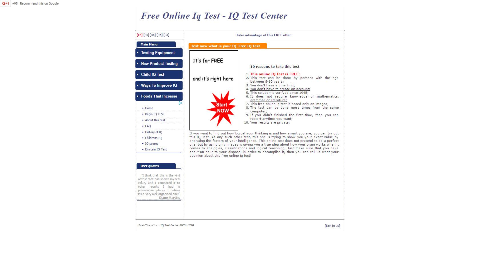Iq test free kid