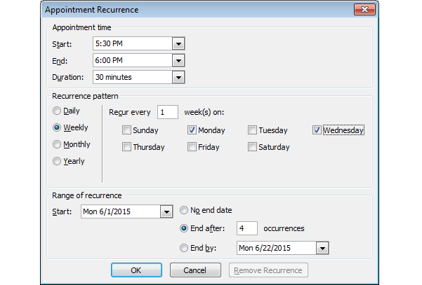 Appointment Recurrence Schedule - Quartz Scheduler