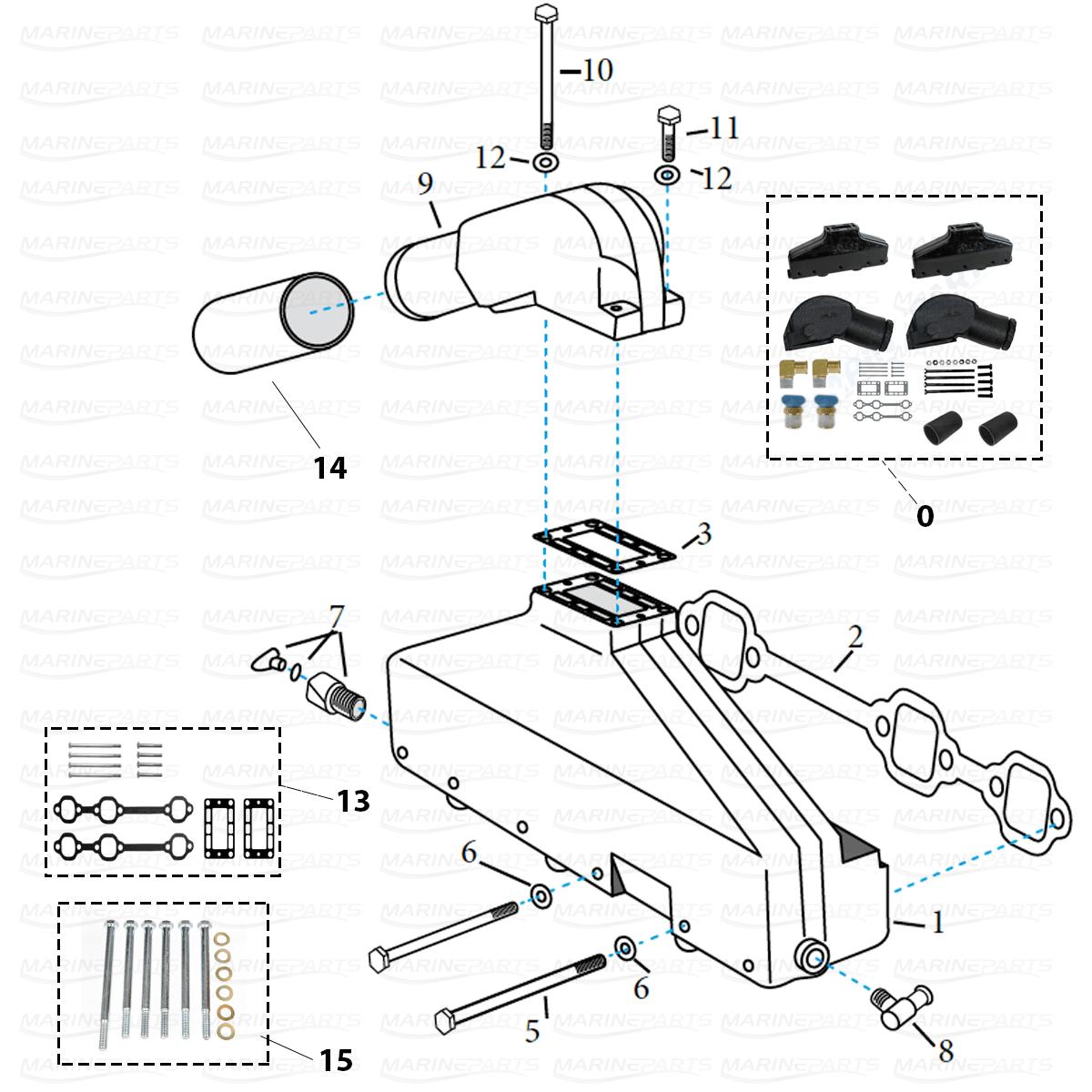 Exhaust Parts For Volvo Penta V6 Aq 175 Aq 205 Aq430 A