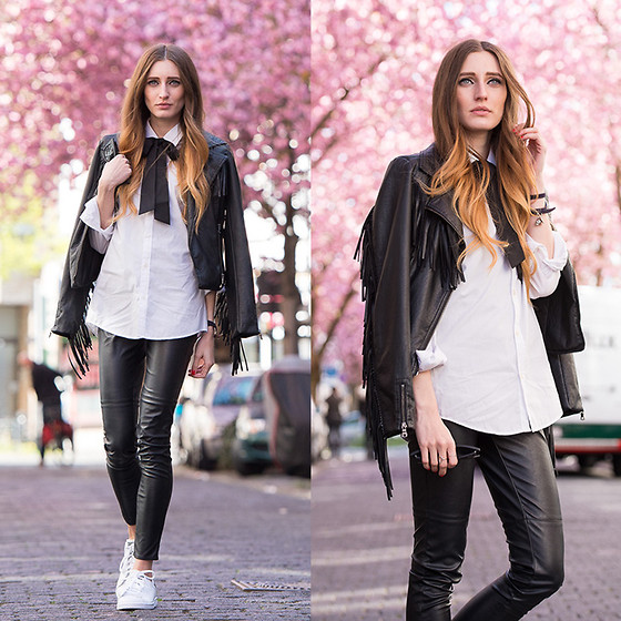 Lisa Fiege - Adidas Sneakers, Leather Pants, Blouse, Leather ...