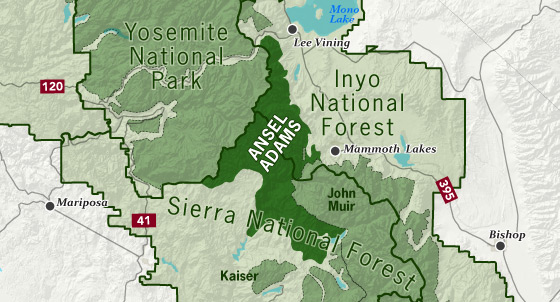 sierrawild gov area map of Ansel Adams Wilderness