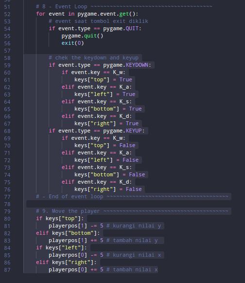 Kode untuk event key