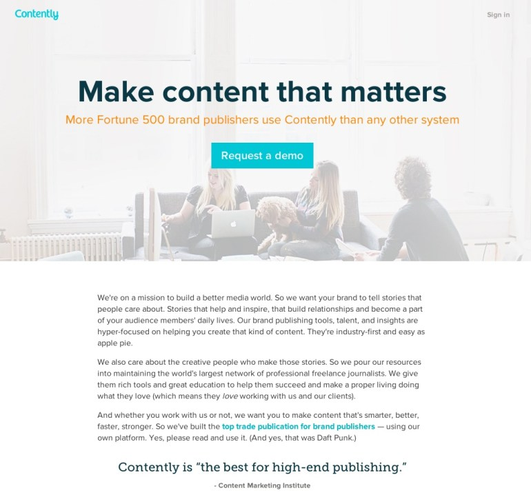 Contently Landing Page Copy