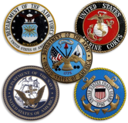 Army, Air Force, Navy, Marines, Coast Guard