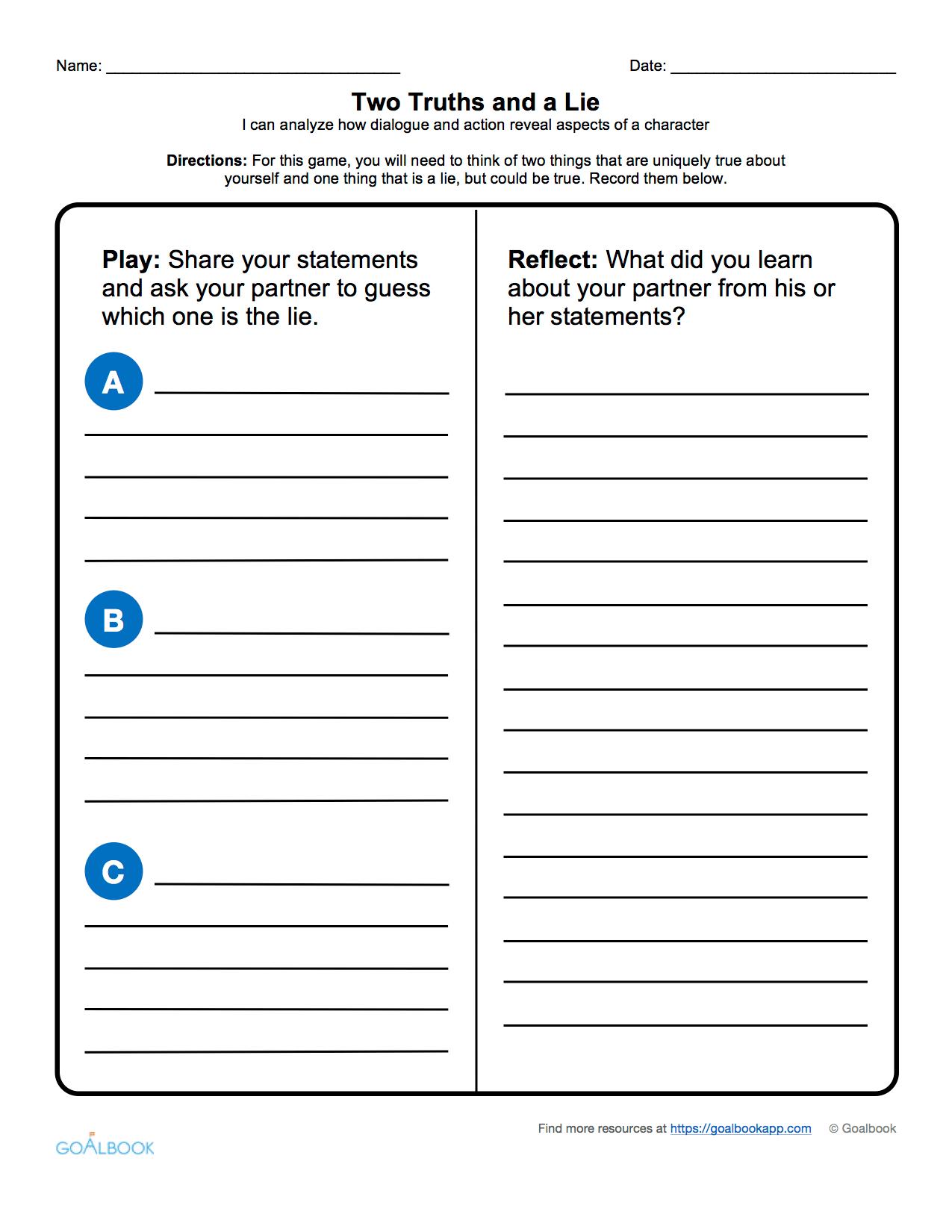 Dialogue Reading Worksheet