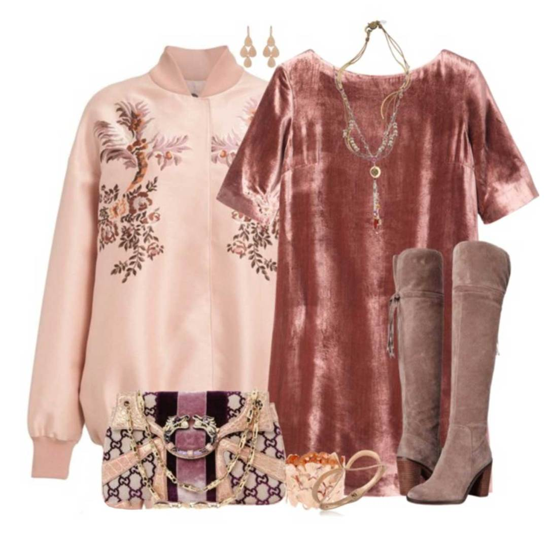Winter Dressing Style: Pink suede over the knee boots