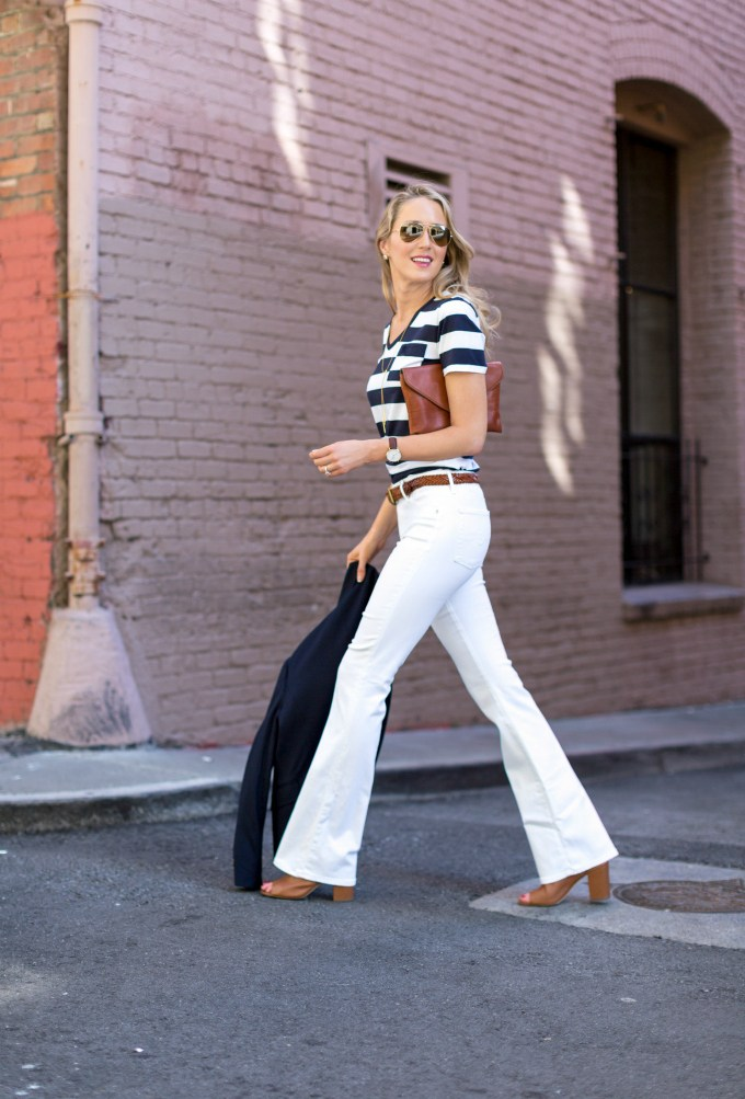 Flared jeans with striped t-shirt - White Jeans Outfit Ideas
