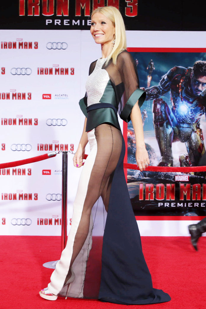 """Naked Dress Trend - Gwyneth Paltrow at the world premiere of """"Iron Man 3""""."""