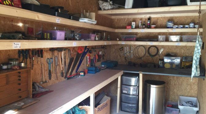 Shelves added to transform garden store and tool shed