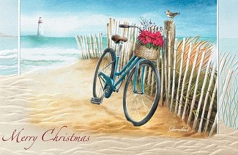 Pack Of 16 Beach Bike Fine Art Embossed Deluxe Christmas