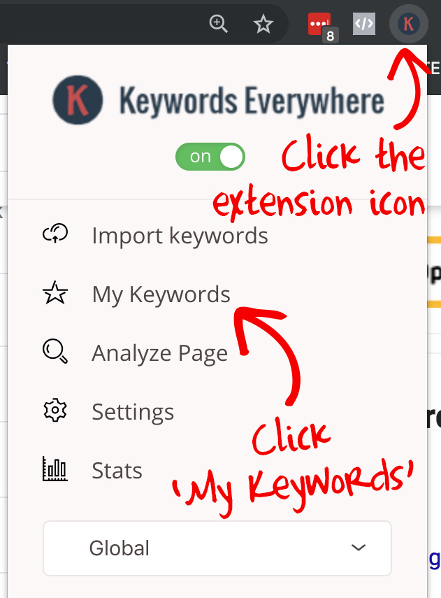Access your saved keywords