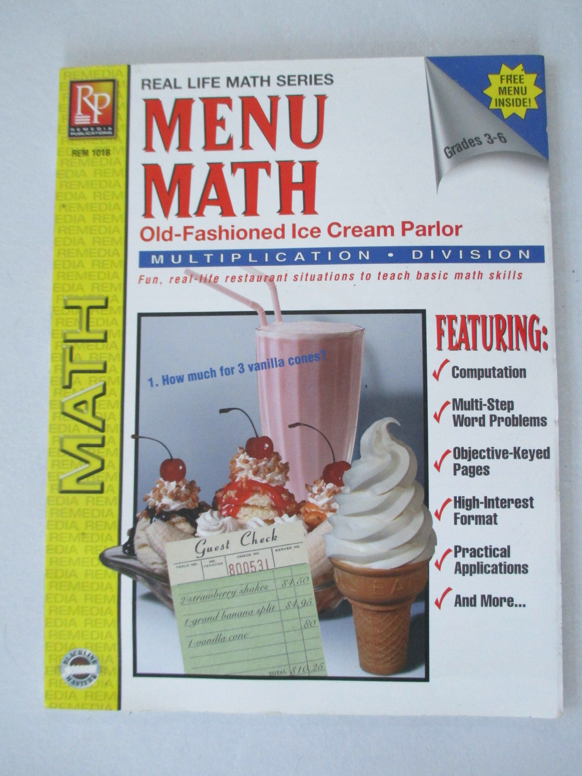Menu Math Old Fashioned Ice Cream Parlor Multiplication Amp Division Grades 3 6 Real Life
