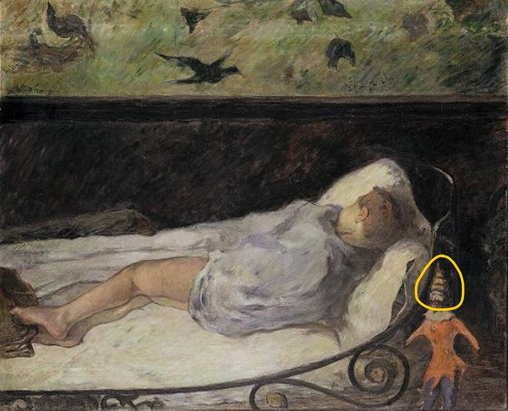 Gauguin's painting of a sleeping child, their back turned to the viewer. A toy jester stands beside the iron leg of the bed. His face is circled with a yellow ring.