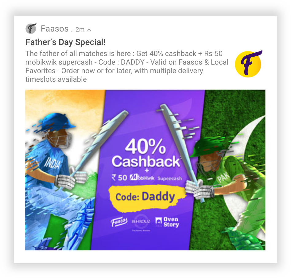Faasos Fathers Day Notification
