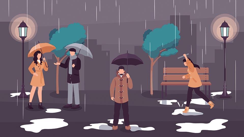 ilustrasi tetap fit pada musim hujan