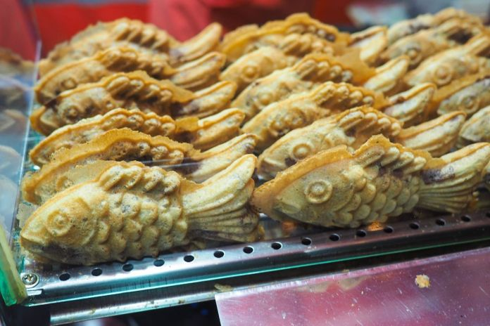 Fish-shaped bread with sweet red bean filling in South Korea