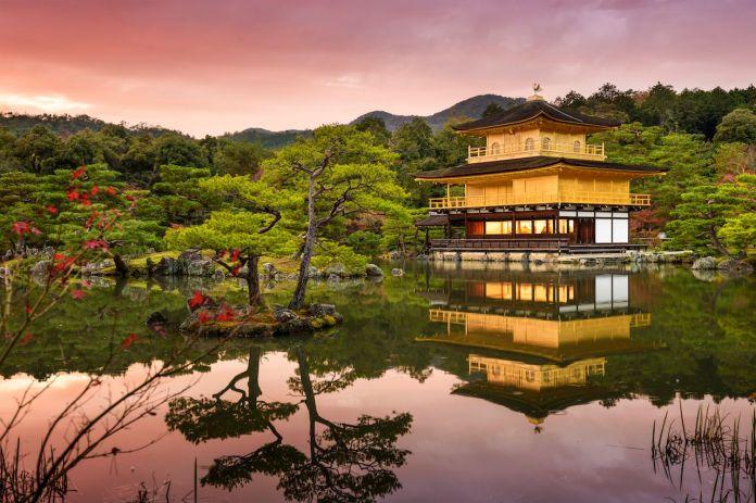 Kyoto, Japan at the Golden Pavilion at dusk