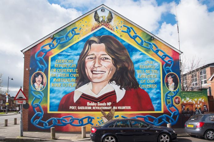 Republican Mural featuring Bobby Sands on the Falls Road, Belfast