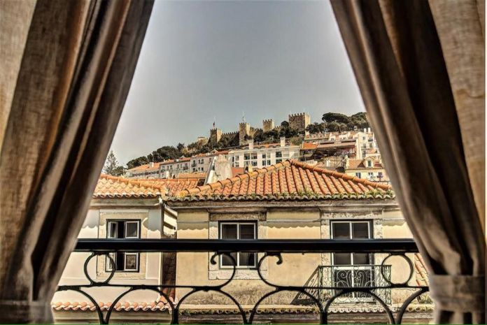 View of the castle from a Lisbon hostel