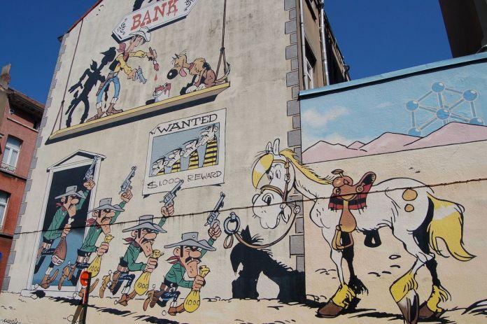 Lucky Luke mural in Brussels