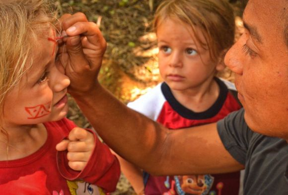 Kids getting their faces painted