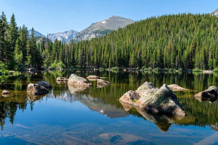 A sunny summer morning view of a rocky section of Bear Lake, Rocky Mountain National Park, Colorado