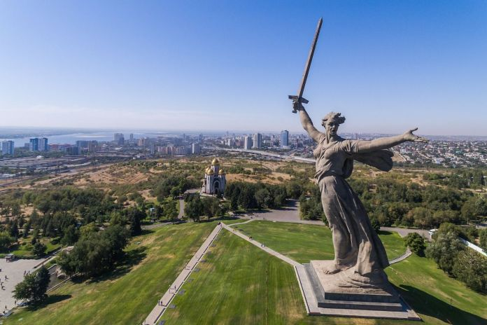 Aerial view of the statue The Motherland calls in Volgograd, Russia