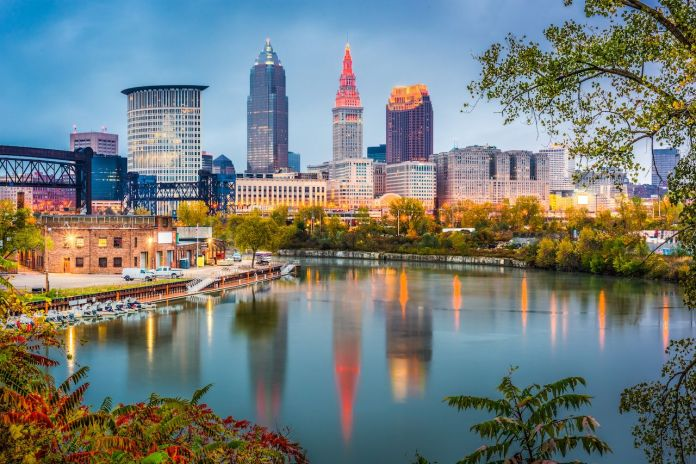 Cleveland, Ohio, in the early evening