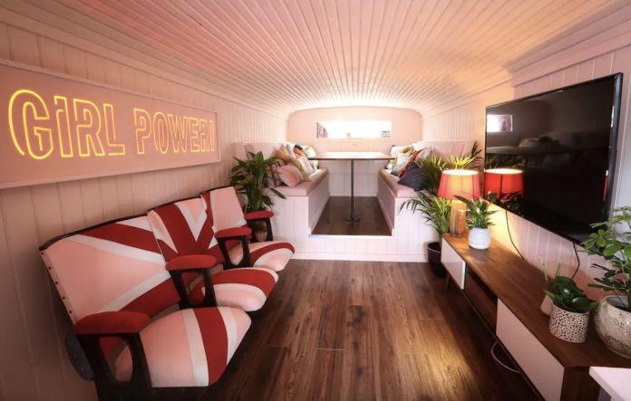 Spice Girls bus Airbnb interior