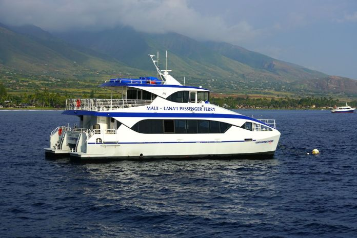 View of the Maui Lanai passenger ferry boat on the Pacific Ocean