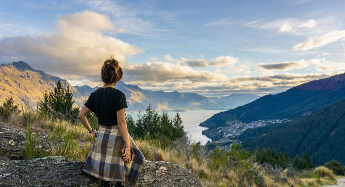 Woman looking out at scenery