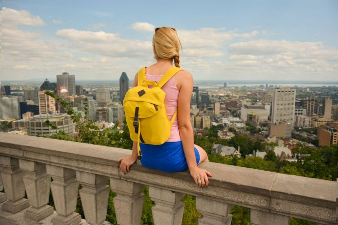 Woman looking over the Montreal skyline