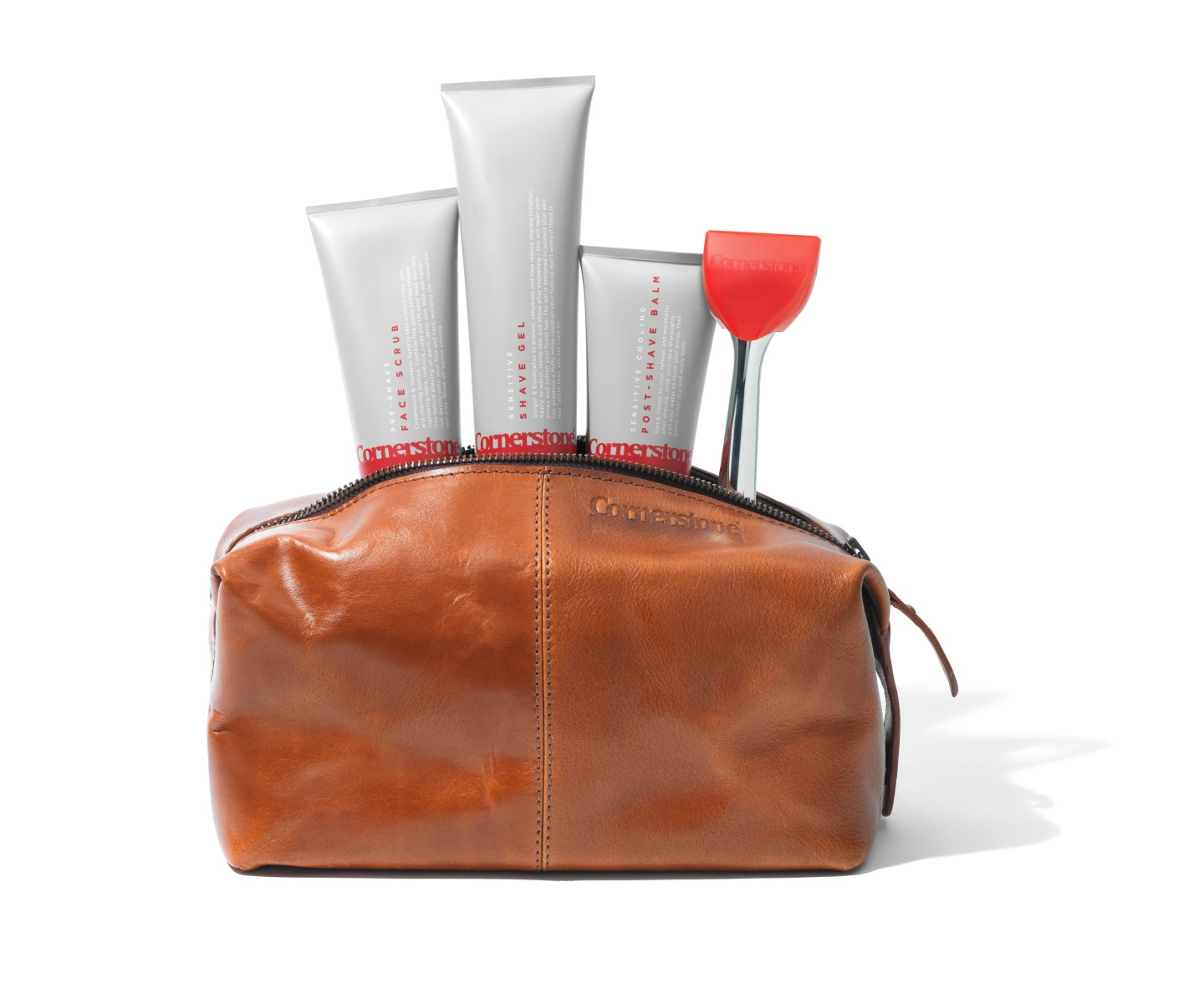Cornerstone's travel wash bag and shaving products