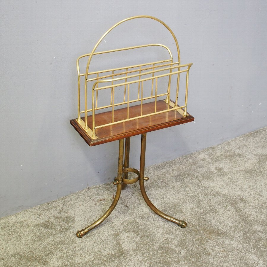 brass and oak revolving magazine rack