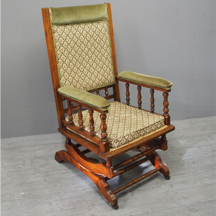 Antique Red Walnut American Rocking Chair Antiques Co Uk