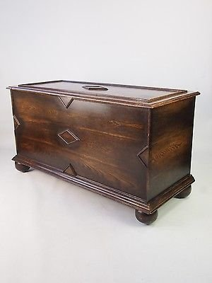 vintage oak blanket chest panelled coffer toy box coffee table tv unit trunk
