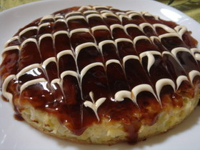 Photo of an okonomiyaki from Cookpad.com.
