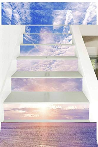3D Self Adhesive Staircase Stickers Wall Murals Colorful Sunset On | Self Stick Stair Treads | Slip Resistant | Modern | Vinyl Covered | Contemporary | Pad