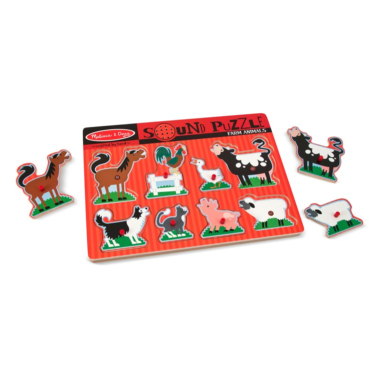 Farm Animals 8pc Wooden Sound Puzzle Educational Toys Planet