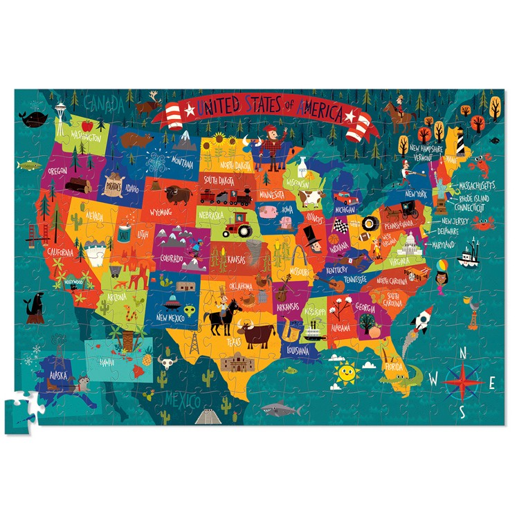 usa map 200 pc jigsaw puzzle and poster