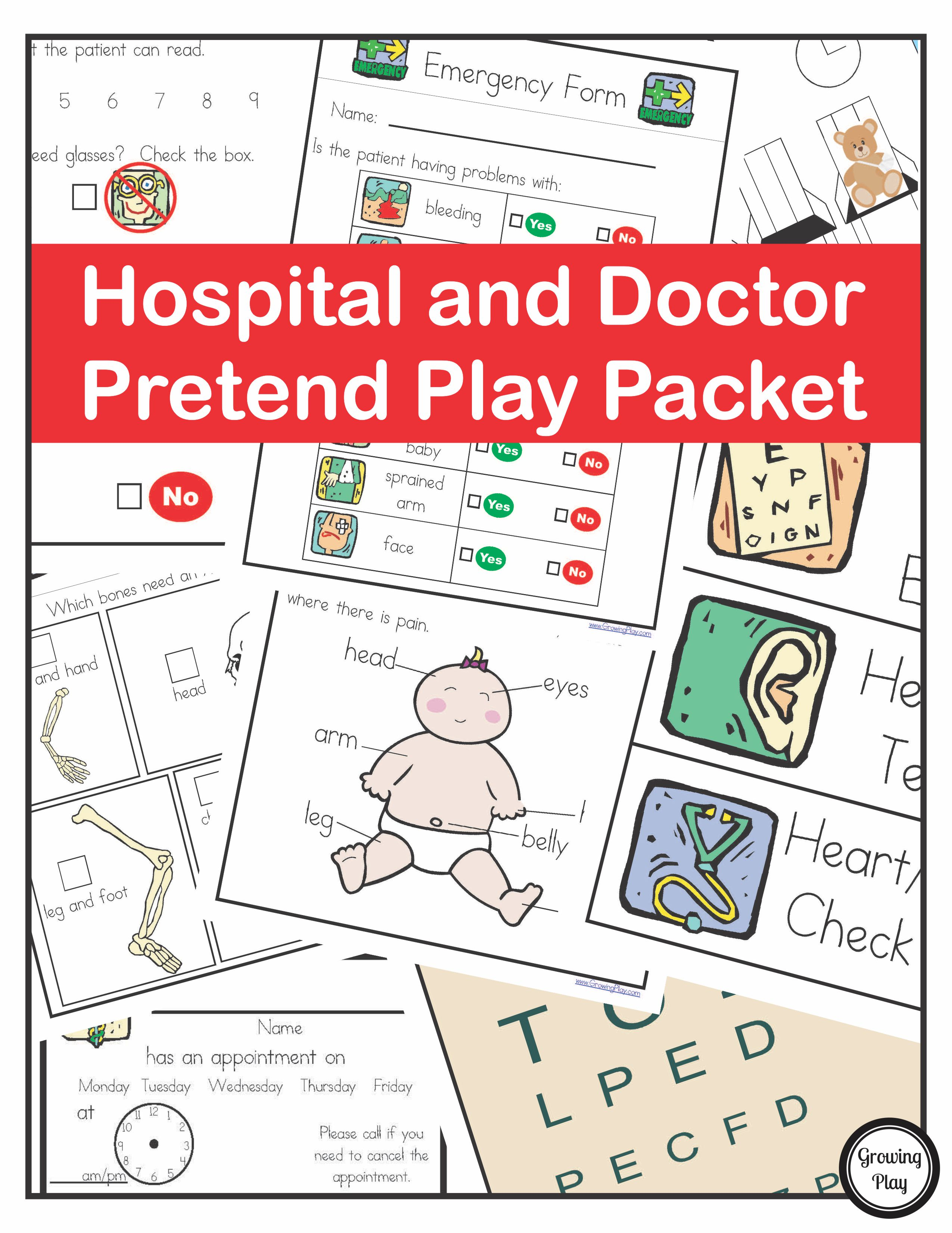 Hospital Doctor Pretend Play Packet