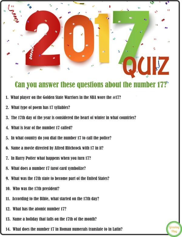 Take the 2017 Quiz for New Year's - Growing Play