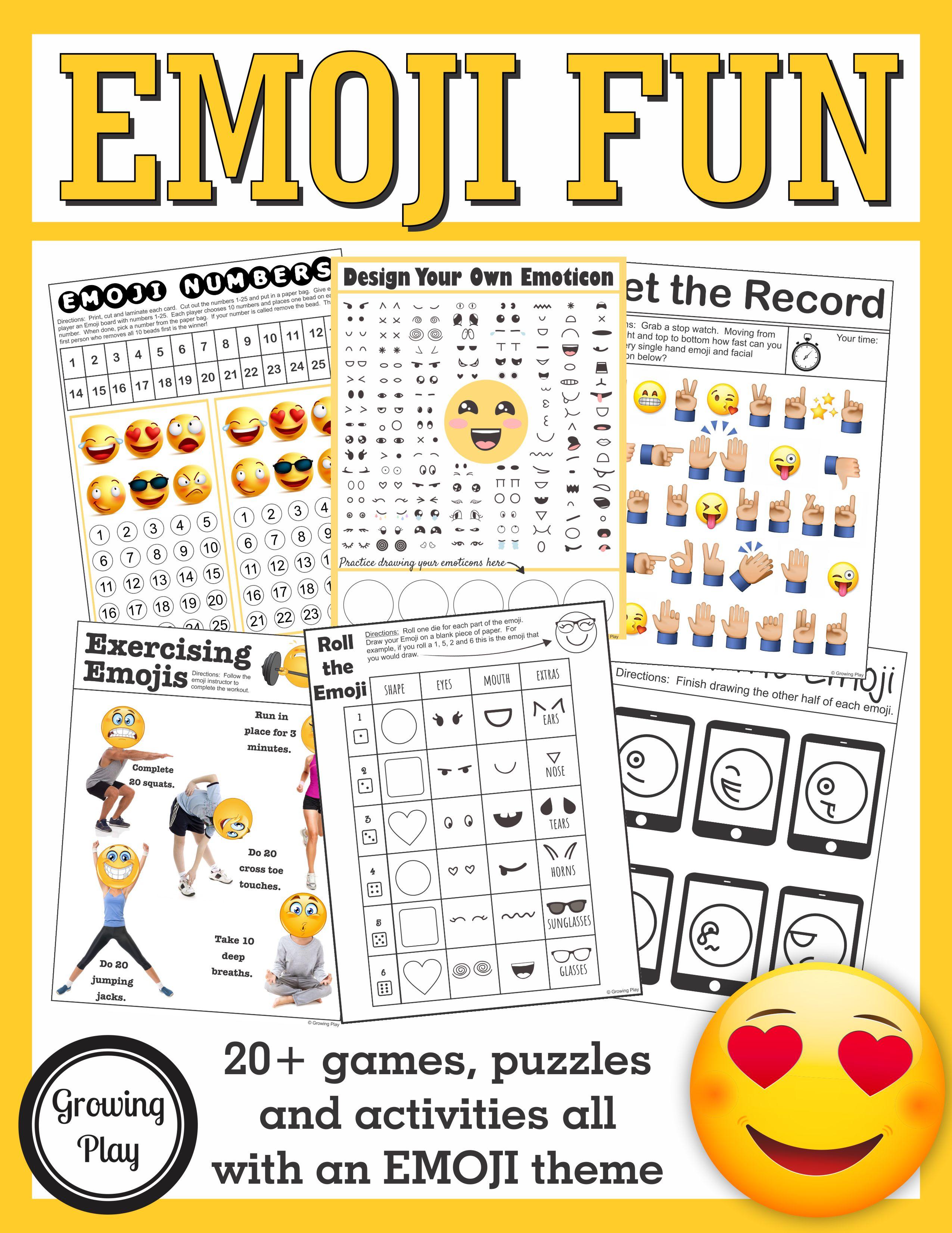 Emoji Games And Puzzles Packet Emoji Birthday Parties