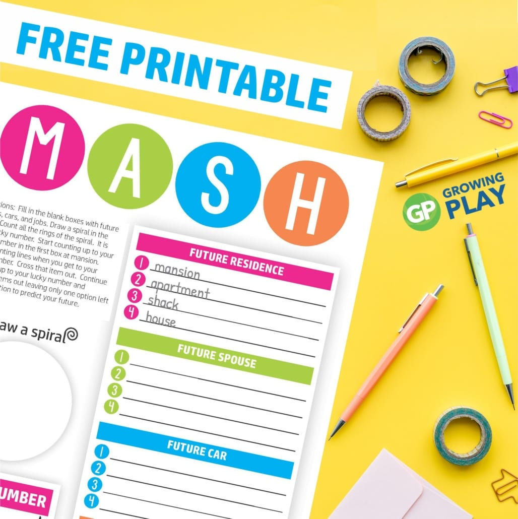 How To Play Mash Game Plus A Free Printable