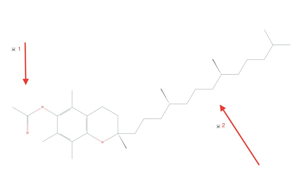 Vape Pen sospechoso de enfermedad pulmonar El tocoferil-acetato contiene un anillo de acetato (flecha 1) que mejora su afinidad de unión natural (flecha 2) por el líquido pulmonar.  (PubChem / Leafly)