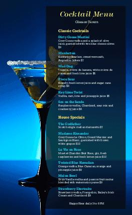 Cocktails Menu Design Templates By MustHaveMenus