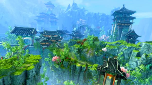 Ein Spiel-Screenshot aus EndofDragons, der canthanische Gebäude, Felsklippen und helles Blattwerk zeigt.